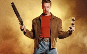 Last Action Hero, Last Action Hero, Arnold Schwarzenegger, Arnold Schwarzenegger, polcia, ngreme, cone, arma, espingarda, dinamite, jaqueta, jeans, Camiseta, filme, Filmes, filme