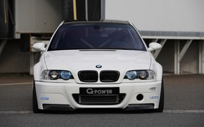 BMW, white, front, Tuning, carbon fiber roof, toned, bmw