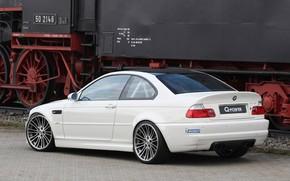 BMW, white, back view, Tuning, Mr. paver, train, Rails, railroad, bmw