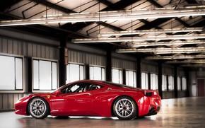 Ferrari, red, profile, premises, Lamp, window, Ferrari