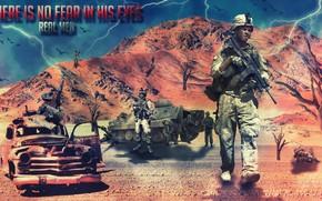 Soldiers, machine, tank, lightning, real men, weapon
