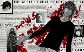 anime, Death Note, Yagami Luz, sangue