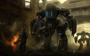 арт, город, роботы, будущее, человек, руины, огонь, огнмет