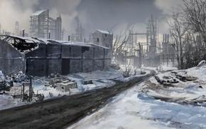 арт, фантастика, зима, снег, дорога, постройки, здания, руины