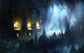 арт, конан, пещера, колонны, огонь, летучие мыши, пики, скалы, человек, путник, меч, свет