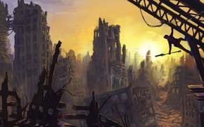 арт, город, руины, солнце, человек, обломки