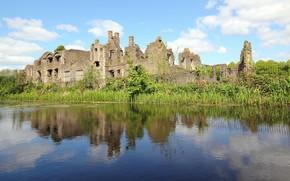 река, замок, руины, гладь, отражение, зелень