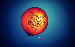 ball, balloon, Noughts and crosses, heart, heart