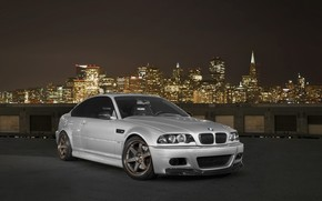 BMW, compartment, front view, roof, night city, sky, bmw