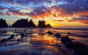 mar, puesta del sol, rocas, costa