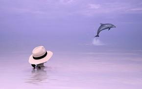 ragazza, mare, delfino, sfondo, stile