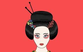 minimalismo, geisha, disegno, rosso, Giappone, capelli, fiori, chimono, Labbra