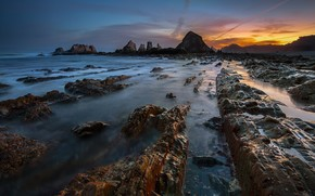 evening, rocks, stones