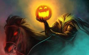 Art, rider, Headless, pumpkin, horse, burning eyes, humor