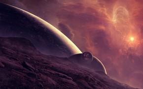 Arte, spazio, pianeta, stella, nebulosa, sollievo, superficie, Satelliti