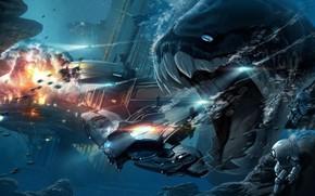 mostro, fauci, nave, inseguimento, esplosione