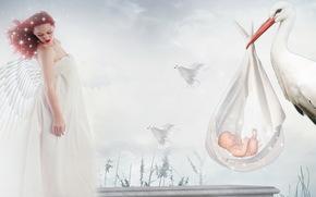 girl, stork, child, background, style