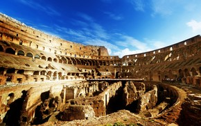 Колизей, Рим, Италия, амфитеатр, внутри, руины, архитектура, небо, люди