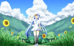 girl, mood, joy, nature, Sunflowers, Trees, clouds, sun, Vocaloid