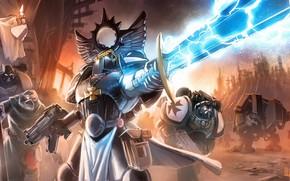 Art, War, weapon, sword, automatic, armor, lightning, cross, banner
