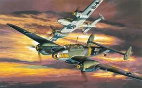 истребитель-бомбардировщик, самолет, авиация, вторая мировая война, рисунок