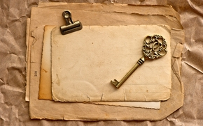 Vintage, key, Page, yellowed, Paper, old