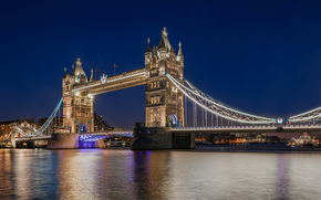 Puente de la Torre, thames, Londres, Inglaterra, Gran Bretaa, Puente de la Torre, Thames, Londres, Inglaterra, Reino Unido, ro, agua, reflexin, noche, luz, luces