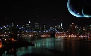 ночь, небо, луна, река, мост