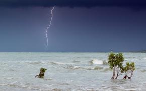 sea, lightning, landscape