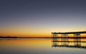 sea, smooth surface, sunset, pier, berth, wharf