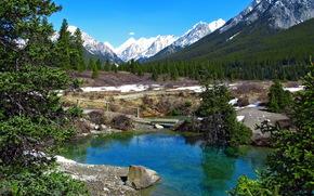 Парк, banff canada, прудик, мостик, горы