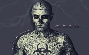 lightning, eyes, Tattoo, man skeleton