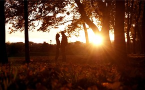 tipo, nia, Siluetas, hierba, Los rboles, parque, alba, puesta del sol, sentimientos