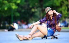 girl, brunette, Asian, Skate, shorts, handbag, hat, headphones