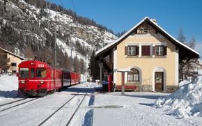Winter, nature, station, iron, road, resort, train, mountain