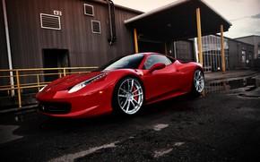Ferrari, red, Italy, side view, building, fencing, porch, Ferrari