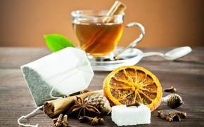table, cup, tea, drink, cinnamon, star anise, orange, Cones, carnation, spoon