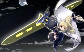 арт, лиричная волшебница наноха, девушка, меч, в небе, ночь, луна, звезды