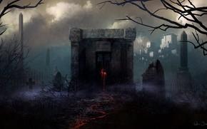 Art, cemetery, crypt, gloom, klyalksy, red, trace, tombstones, cross, Trees