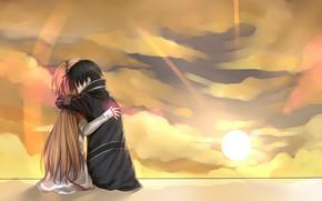 Аниме, девушка, длинные волосы, короткие волосы, чёрные волосы, мужчина, каштановые волосы, закрытые глаза, облако, пара, плащ, объятие, солнце