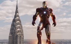 The Avengers, Marvel, man of iron, Tony Stark, Robert Downey Jr., armor, flight, skyscraper