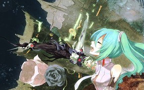 Art, Vocaloid, Hatsune Miku, girl, ruins, Wire, Flowers