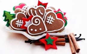cookies, New Year, Hearts, Sweets, plate, Spices, cinnamon, Holidays, New Year, Christmas, New Year