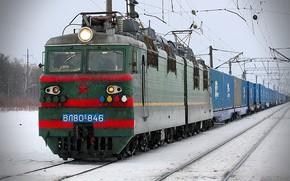 локомотив, зима, поезд, Другая техника