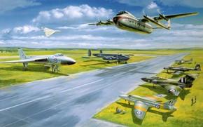 Самолеты, истребители, авиация, аэродром, рисунок