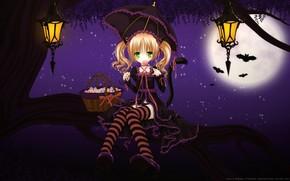 арт, девочка, дерево, ветка, ночь, луна, леденец, сладкое, зонт, зонтик, корзина, фонари, летучие мыши