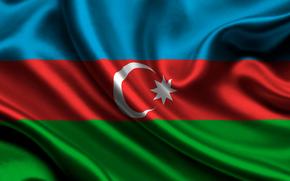 azerbaijan, satin, flag, Azerbaijan, Atlas, flag