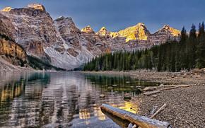 冰碛湖, 十峰山谷, 班夫国家公园(Banff National Park), 加拿大, 冰碛湖, 谷十峰, 班夫, 加拿大, 山, 森林