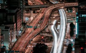 Япония, город, Осака, ночь, дороги, хайвеи, выдержка, дома, sandro bisaro photography