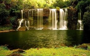 waterfall, greens, water